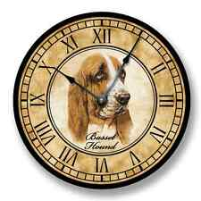 Basset Hound Wall CLOCK - Color Pencil Sketch - Old World Look - Roman Numerals