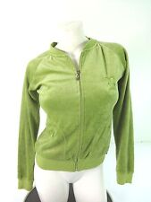 BCBG MAX AZRIA WOMENS LIME GREEN VELOUR COTTON POLYESTER FULL ZIP JACKET SIZE S