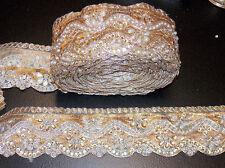 1m 7cm rose gold crystal indian arabic paisley braid beaded lace bridal wedding