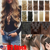 24'' Full Head Clip in Hair Extensions Long 16Clips Straight/Curly Hairpieces US