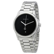 Gucci G-Timeless Black Dial Stainless Steel Mens Watch YA126460