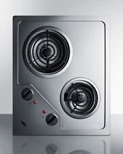 Summit CR2B224S 2-Burner 230V Electric Cooktop with Coil Elements - SS
