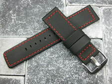22mm Black PVC Soft Rubber Diver Strap Pilot Maratac Red Stitch Band Large L