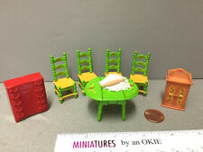 Miniature Holiday Table & Chairs, Cupboard & Chest Dollhouse 1:24 Half Scale (52