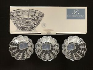 "3 Mikasa Celebrations Facets 4"" Lead Crystal Votive Holder New Holiday Christmas"