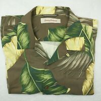 Tommy Bahama Men's Large Brown Green Hawaiian Aloha Camp Silk Shirt Floral