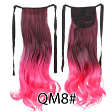 """20""""Clip in Wrap On Hair Extensions Ponytails Natural Ombre Long Curly Wavy Hair"""
