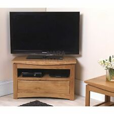 Crescent solid oak modern furniture corner television cabinet stand unit