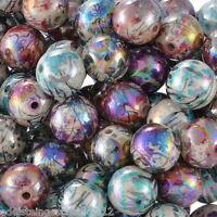 GS: 100 Mix Acryl Rund Spacer Perlen Beads Kugeln Mehrfarbig 12mm