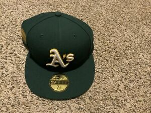 Oakland Athletics 50th Anniversary Patch New Era 59Fifty Fitted Hat Size 7 1/2**