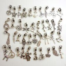 Lotti all'ingrosso 40pcs Tibetan silver charm perline Fit Bracciale Catena Europea