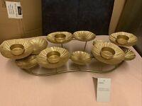 NEXT Gold Lilypad Lily Pads Candelabra 5 Tea Light Holders Gold Foil Effect