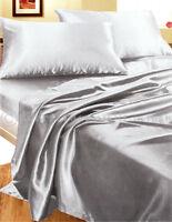 Completo MATRIMONIALE RASO GRIGIO lenzuola camera letto set biancheria fodere