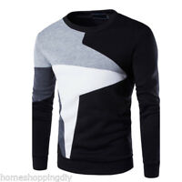 Mode Homme Patchwork Pull Casual Vêtements sport à manches longues col rond Tops
