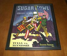 1943 SUGAR BOWL PROGRAM FRAMED 11x14 PRINT - TULSA vs TENNESSEE - TULANE STADIUM
