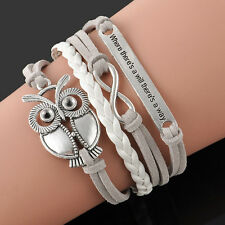 Fashion Trendy Infinity Owl Friendship Antique Leather Cute Charms Bracelet Gift