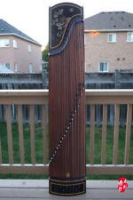 Dunhuang Guzheng, Chinese Zither Harp, 敦煌紫檀(闊葉黃檀)/天真元韻/牡丹圖案 徐振高監製 -- 古筝