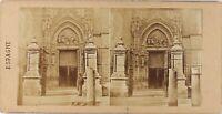 Spagna Seville Porta Da La Cattedrale, Foto Stereo Vintage Albumina Ca 1860-65