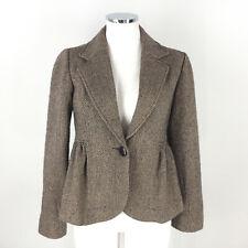 Anthropologie Tulle S M Brown Wool Herringbone Blazer Tweed Peplum Excellent