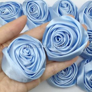 Lot 50pc Light Blue Satin Ribbon Rose Flowers Craft DIY Wedding Bouquet 50mm/ 2""
