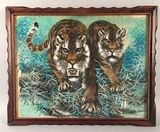 Vintage Japanese Watercolor Painting on Linen - Two Tigers - Signed