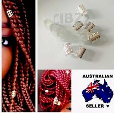 10x Dreadlock Hair Cuffs Clips Beads Style Ring Wrap Adjustable Accessory SILVER