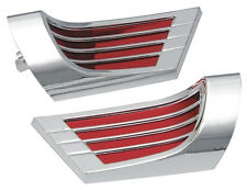 1959 1960 1961 CHEVROLET IMPALA ARM REST REFLECTORS CHROME & RED NEW SET OF TWO