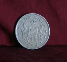 1924 Romania 1 Leu Copper Nickel KM46 World Coin Lions Coat of Arms