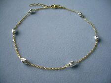 "New Italy 925-Sterling Silver Two Tone Ankle Braceletw/Oval Beads- 9"" to 10"" Adj"