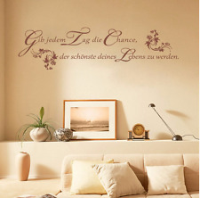 Wandtattoo Wohnzimmer Schlafzimmer Küche Flur Spruch Tag Leben braun Dekoration