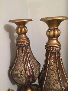 LARGE TUSCAN BROWN AMBER GLASS PILLAR CANDLEHOLDERS CANDLESTICKS S/2