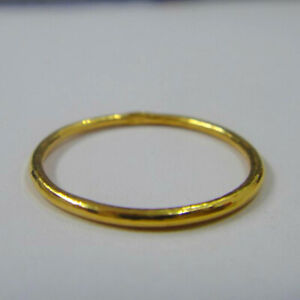 Real 999 24K Yellow Gold Ring Women Luck Round Ring US6 1.1-1.5g
