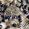 aaa10MM Black Pearl 925 Sterling Silver Beads Catholic Rosary Cross Necklace box