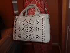 NWT PRADA DENIM BIANCO (Washed Denim) STUDDED RHINESTONE Tote Shoulder BN2439
