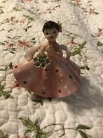 Vintage Japan Napco Blue Eyed Girl Figurine Holding Gift Pink Dress Flowers