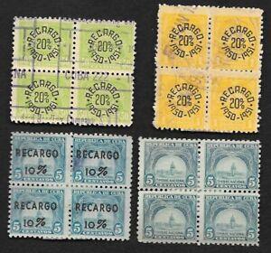 Caribbean lot of 4 blocks of 4 revenue stamps, 1940s-1950s