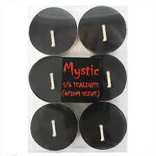 SIX OPIUM SCENTED TEA-LIGHTS - Black In Colour - Great Scent - Same Day Despatch