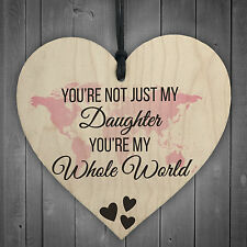 Daughter You're My Whole World Wooden Hanging Heart Plaque Daughters Love Gift