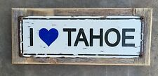 I Love Lake Tahoe Heart Keep Blue California Vintage Metal Sign Mtn Cabin Decor