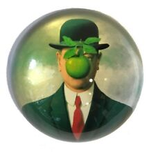 Magritte Bowler Man Green Apple Son of Man Surrealism Glass Desk Paperweight