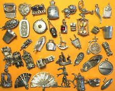 Vintage sterling silver charms VARIOUS OBJECTS Luck Love Money Tourism England