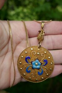 Vintage Chinese Export Gilted Filigree Cloisonné Silver Pendant - 15.0 Grams