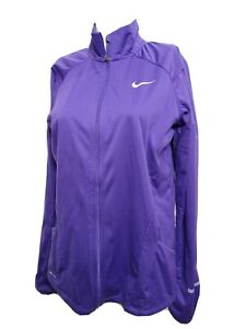 NIKE running Women LARGE full Zip Thumb holes Athletic Jacket Solid Pocketed(#M6