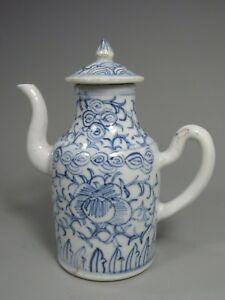 China Chinese Blue & White Porcelain Foliates Decor Wine Teapot ca. 19-20th c.