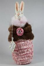 Rabbit Dressed In Pink With Broach Soft bottom-Ceramic Head By Raz  NEW WTag!
