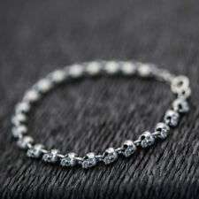 "Women 925 Sterling Silver Skull Skeleton Beaded Bracelet 7"" Biker Punk A2533"