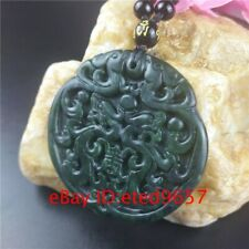 Obsidian Phoenix Pendant Black Necklace Dragon Natural Jade Gifts Jewelry Amulet