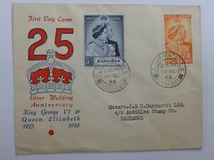 (5677A) BARBADOS ILLUSTRATED 1948 ROYAL SILVER WEDDING F.D.C ST LAWRENCE CDS
