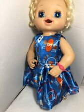 """Fits 15"""" 16"""" Baby Alive Doll Clothes Party Dress Costume Blue NEW"""