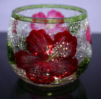 """Yankee Votive Tea Light Candle Holder Crackle Glass Red Flowers EUC 2-3/4"""" Tall"""